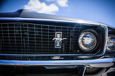 1969 Ford Mustang Grille Emblem -0129c Poster by Jill Reger