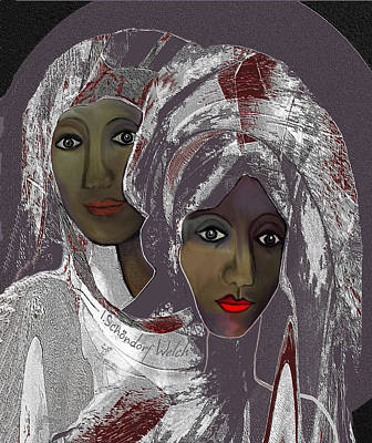 Poster featuring the digital art 1969 -  White Veils by Irmgard Schoendorf Welch