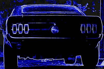 1969 Mustang In Neon 2 Poster