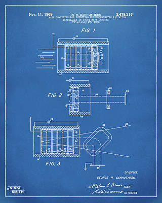 Poster featuring the digital art 1969 Short Wave Electromagnetic Radiation Patent Blueprint by Nikki Marie Smith