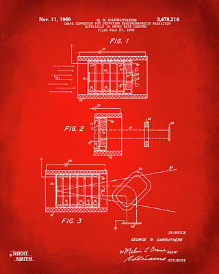 Poster featuring the digital art 1969 Short Wave Electromagnetic Radiation Patent Red by Nikki Marie Smith
