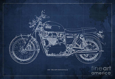 1969 Triumph Bonneville Blueprint Blue Background Poster by Pablo Franchi