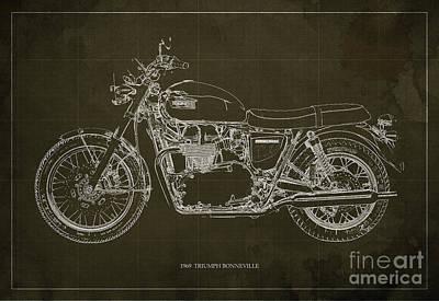 1969 Triumph Bonneville Blueprint Brown Background Poster by Pablo Franchi
