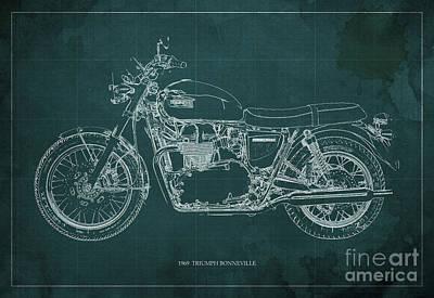 1969 Triumph Bonneville Blueprint Green Background Poster by Pablo Franchi