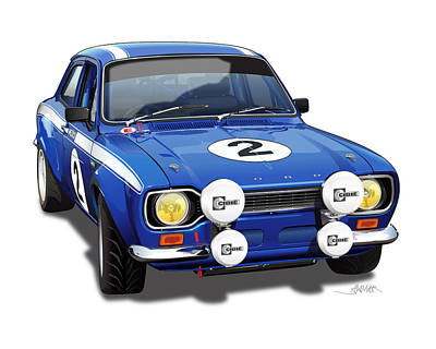 1970 Ford Escort Mexico Illustration Poster
