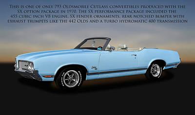 Poster featuring the photograph 1970 Oldsmobile Cutlass Sx 455 Convertible   -   1970cutlasssxwithtext170496 by Frank J Benz