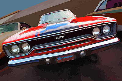 1970 Plymouth Gtx Vectorized Poster by Gordon Dean II