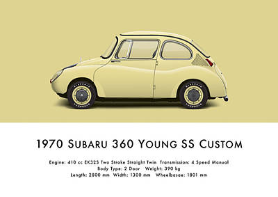 1970 Subaru 360 Young Ss Custom Poster by Ed Jackson