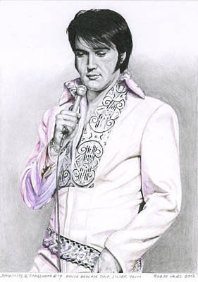 1970 White Brocade Suit Silver Trim Poster