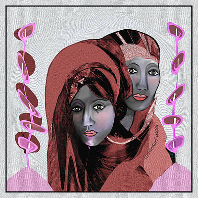 Poster featuring the digital art 1971- Rosecoloured Portrait 2017 by Irmgard Schoendorf Welch