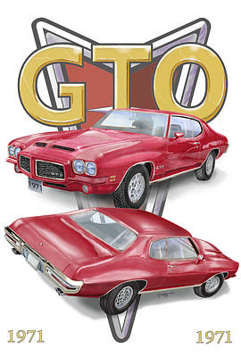 Poster featuring the digital art 1971 Pontiac Gto by Thomas J Herring