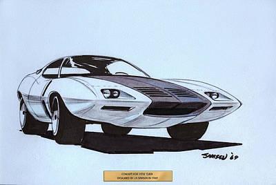 1972 Barracuda  Cuda Plymouth Vintage Styling Design Concept Sketch  Poster