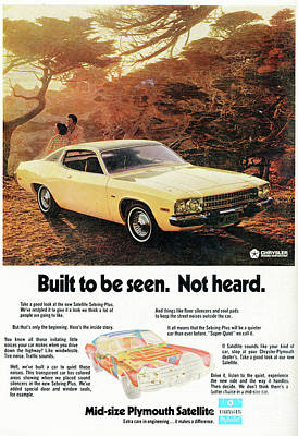 1972 Mid-size Plymouth Satellite Vintage Car Ad Poster by Edward Fielding