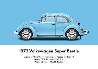 1972 Volkswagen Super Beetle - Marina Blue Poster