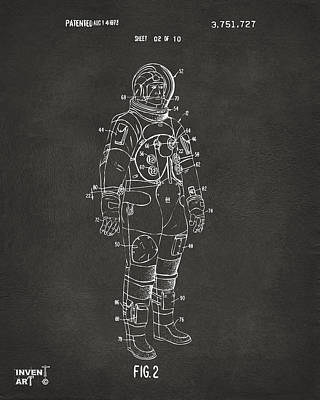 1973 Astronaut Space Suit Patent Artwork - Gray Poster