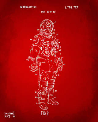 1973 Astronaut Space Suit Patent Artwork - Red Poster