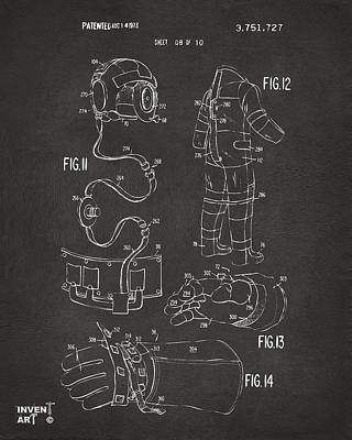 1973 Space Suit Elements Patent Artwork - Gray Poster