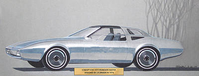 1974 Duster  Plymouth Vintage Styling Design Concept Sketch  Poster