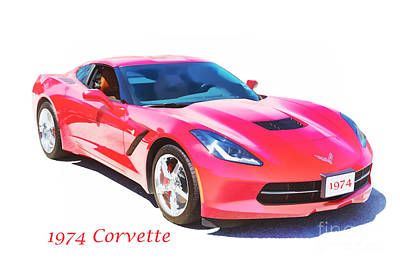 1974 Red Corvette By Chevrolet Painting Print 3480.02 Poster by M K  Miller