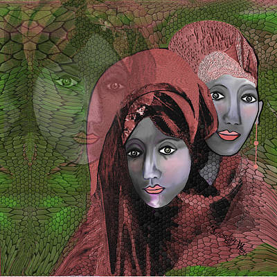 Poster featuring the digital art 1974 - Women In Rosecoloured Clothes - 2017 by Irmgard Schoendorf Welch