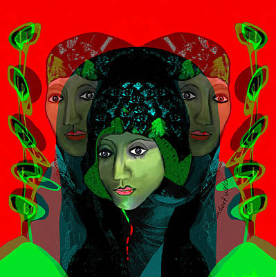 Poster featuring the digital art 1975 - Mystery Woman by Irmgard Schoendorf Welch