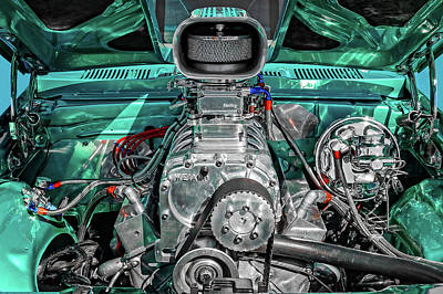 Poster featuring the photograph 1975 Pontiac Ventura Engine Detail   -   1975pontiacv8enginedetail170550 by Frank J Benz