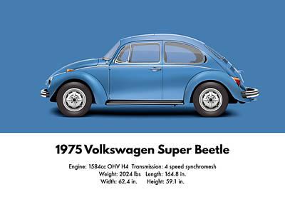 1975 Volkswagen Super Beetle - Ancona Blue Metallic Poster