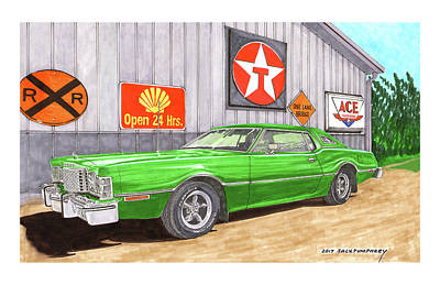 Poster featuring the painting 1976 Ford Thunderbird by Jack Pumphrey