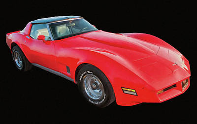 1977 Chevy Corvette T Tops Digital Oil Poster