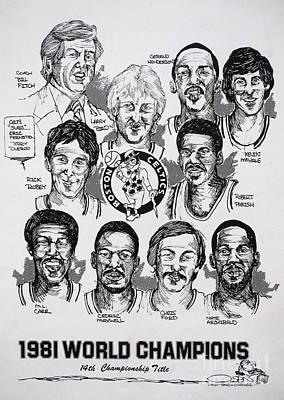 1981 Boston Celtics Championship Newspaper Poster Poster by Dave Olsen