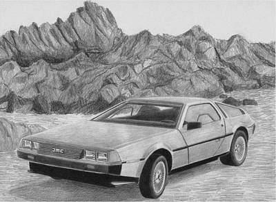 1981 Delorean Classic Car Art Print Poster by Stephen Rooks