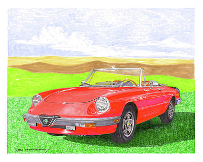 Poster featuring the painting 1983 Alfa Romero Spider Veloce by Jack Pumphrey