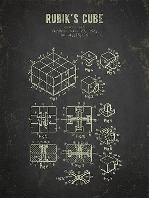 1983 Rubiks Cube Patent - Dark Grunge Poster by Aged Pixel