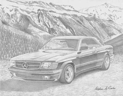 1984 Mercedes Benz 560 Sec Amg Classic Car Drawing Poster by Stephen Rooks