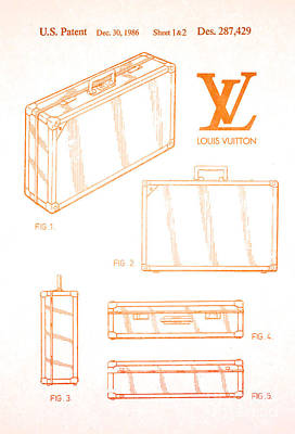1986 Louis Vuitton Suitcase Patent 2 Poster by Nishanth Gopinathan