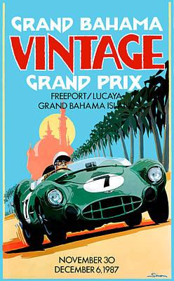 1987 Grand Bahama Vintage Grand Prix Race Poster Poster