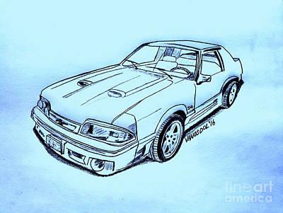 1987 Mustang Gt 5.0 - Blue Background Poster by Scott D Van Osdol
