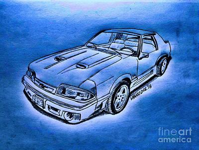 1987 Mustang Gt 5.0 - Moonlight Cruisin Poster by Scott D Van Osdol