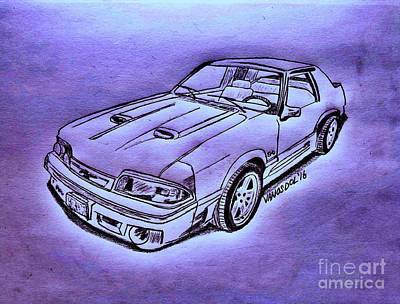 1987 Mustang Gt 5.0 - Purple Neon Abstract Poster by Scott D Van Osdol