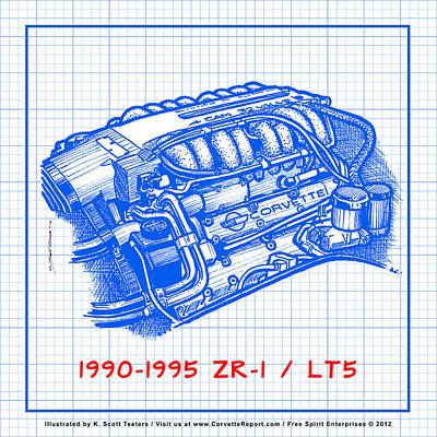 1990-1995 C4 Zr-1 Lt5 Corvette Engine Blueprint Poster
