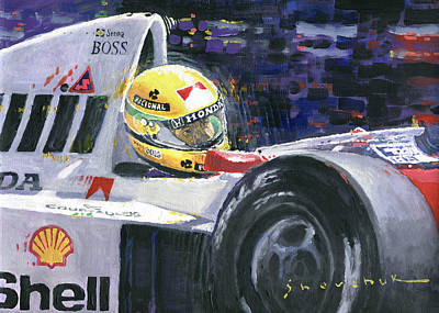 1990 Mclaren Honda Mp4 5b Ayrton Senna World Champion Poster by Yuriy Shevchuk