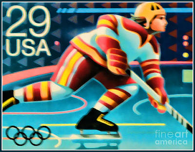 1992 Winter Olympics-hockey Poster by Lanjee Chee