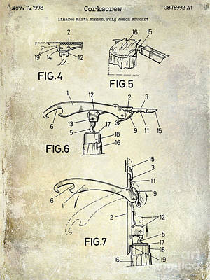 1998 Corkscrew Patent Poster by Jon Neidert