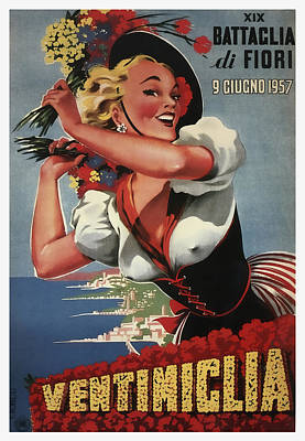 19th Annual Battle For Flowers In Ventimiglia Italy 1957 Poster by Daniel Hagerman