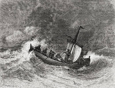 19th Century Fishing Boat In Stormy Poster by Vintage Design Pics