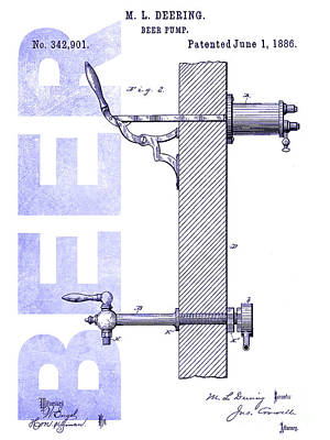1886 Beer Pump Patent Blueprint Poster by Jon Neidert