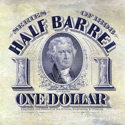 1898 Half Beer Barrel Tax Stamp Poster by Jon Neidert