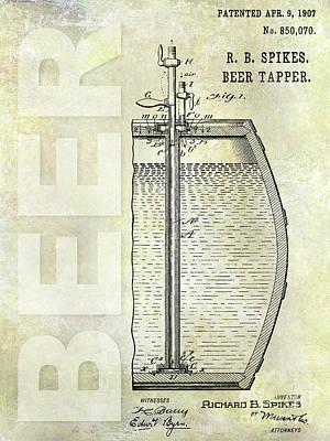 1907 Beer Tapper Patent Poster by Jon Neidert