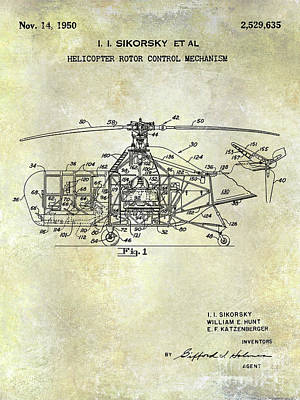 1950 Helicopter Patent Poster by Jon Neidert