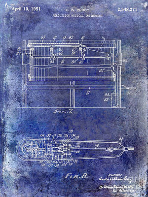 1951 Drum Patent Blue Poster